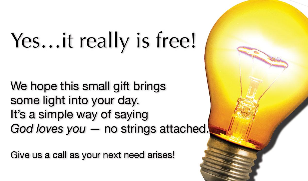 Free Light Bulbs Outreach Connect Card   White. Back To List Idea