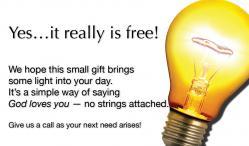Free Light Bulbs Outreach Connect Card - White